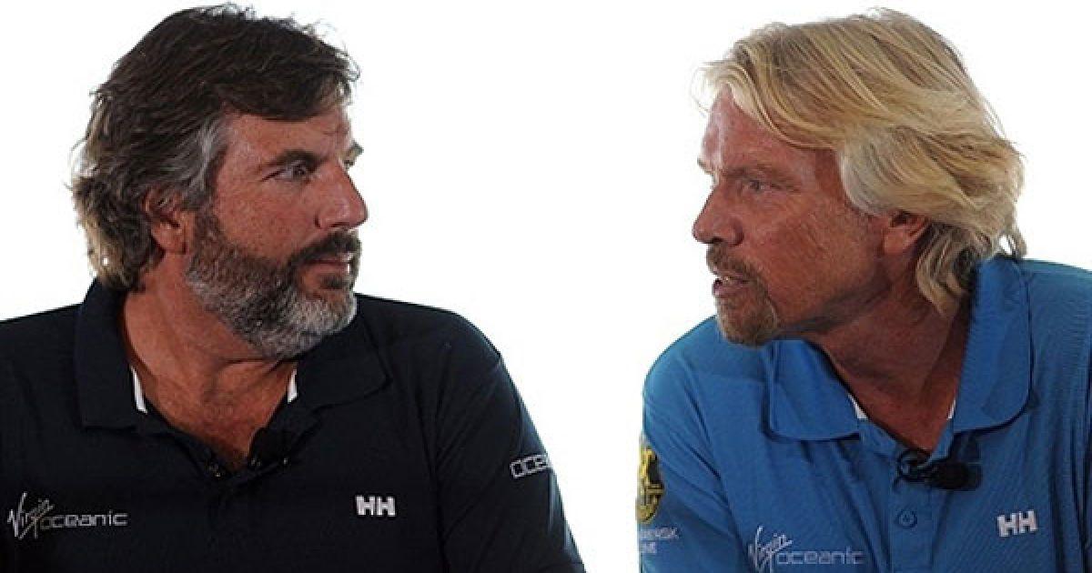 Ричард Брэнсон и его приятель-путешественник Крис Уэлш собираются на Virgin Oceanic исследовать пять глубоких океанических впадин мира @ AFP
