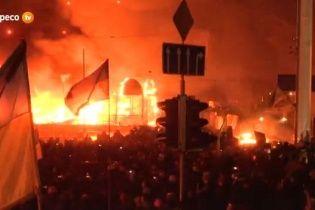 На Майдане горят палатки демонстрантов