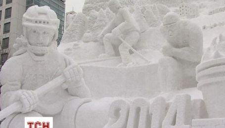 Японские мастера создали масштабные скульптуры из снега