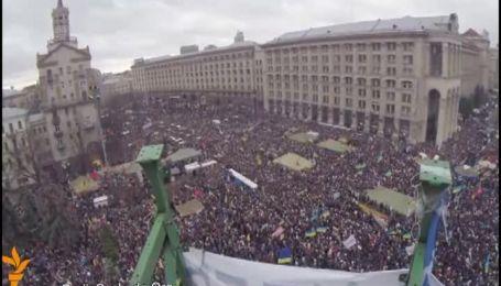 """Вражаюче відео """"Маршу мільйона"""" на Майдані з висоти головної ялинки"""