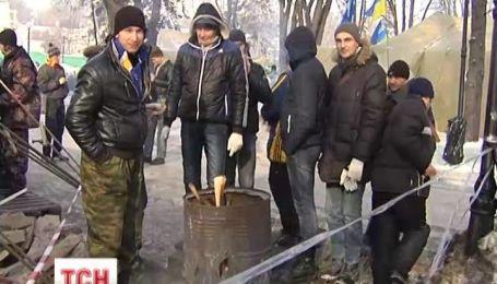 Мітингувальники в Маріїнському парку через морози роз'їхались по домівкам