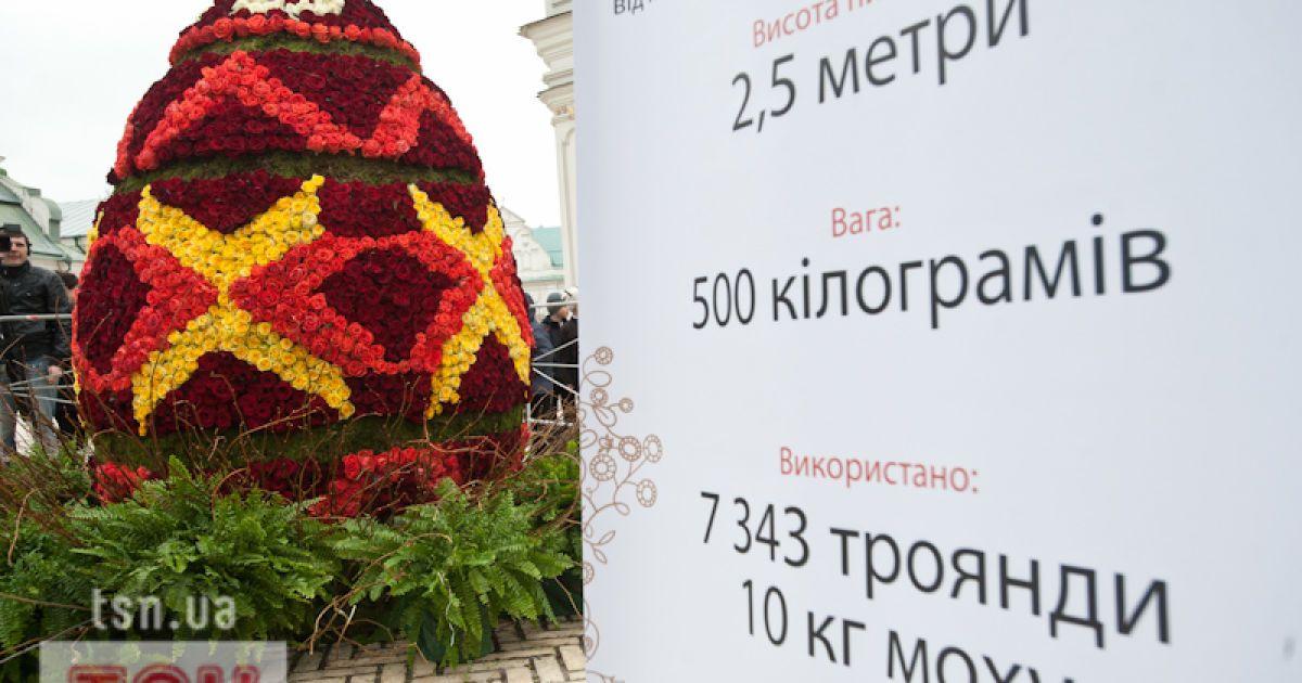 У Лаврі встановили великоднє яйце з 7500 троянд @ Євген Малолєтка/ТСН.ua