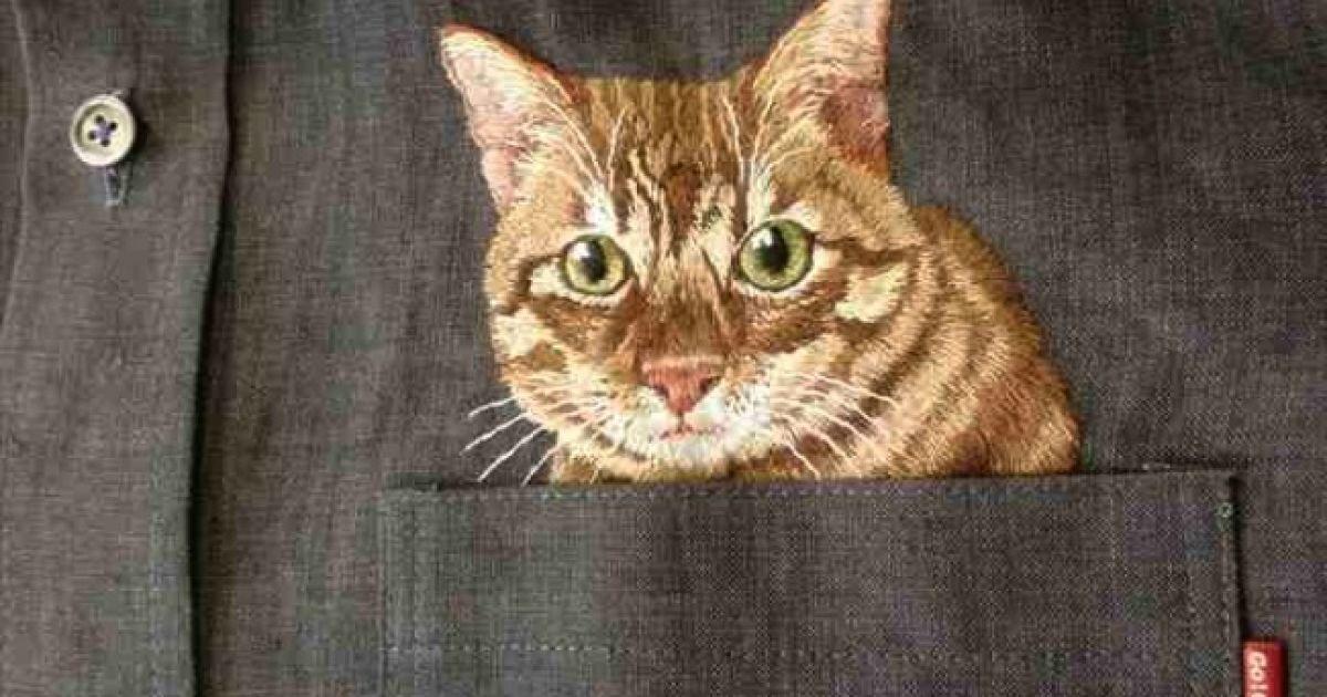 Майстер вишиває котиків на звичайних сорочках @ adme.ru