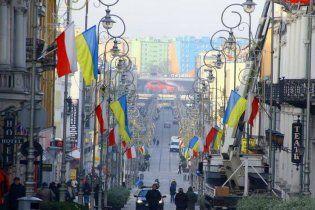 В Польше в поддержку Евромайдана улицы украсили украинскими флагами