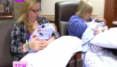 Американские близнецы родили детей в один день