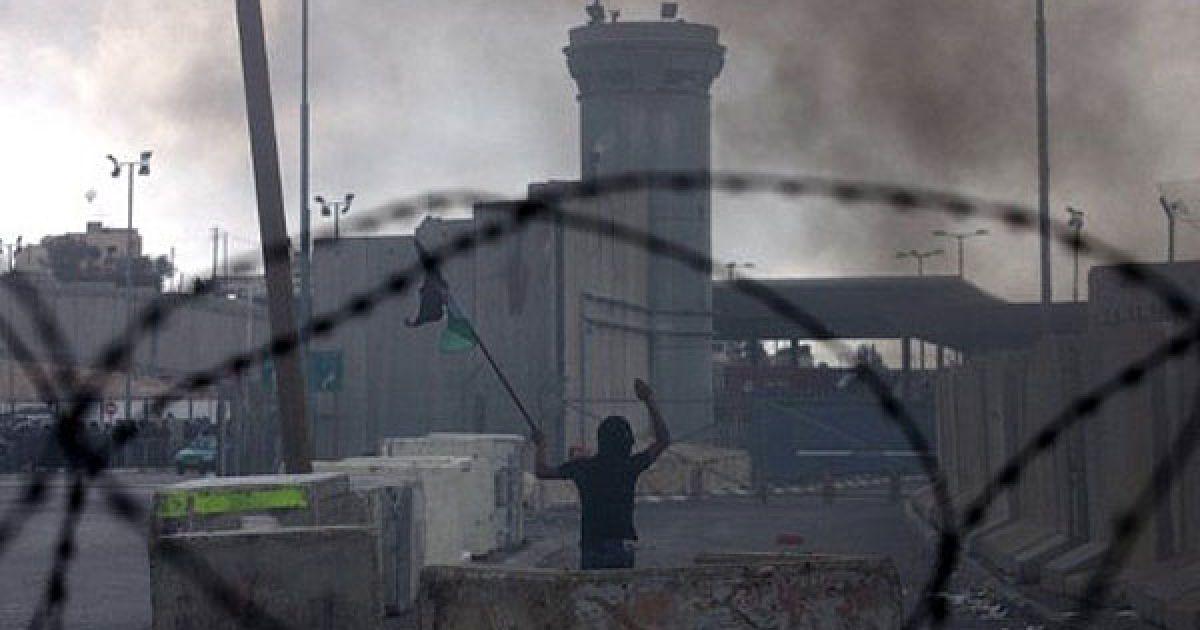 Каландія. Палестинські підлітки кидають каміння у ізраїльських прикордонників на КПП Каландія між Єрусалимом і Рамаллою під час заворушень. Близько 22 тисяч поліцейських та прикордонників привели в стані підвищеної готовності по всій країні через заворушення, які викликало прагнення Палестини отримати членство в ООН. @ AFP