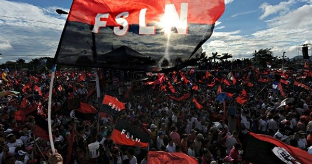 Манагуа. Урочистий мітинг прихильників Сандиністського фронту національного визволення з нагоди 31-ої річниці повалення режиму Анастасіо Самоси у Нікарагуа. Завдяки революції у Нікарагуа, Сомоса став останнім диктатором Латинської Америки. @ AFP