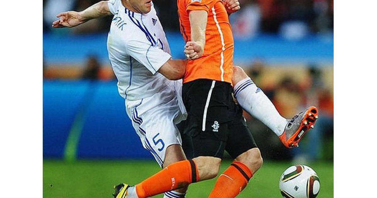 Збірна Нідерландів з рахунком 2:1 перемогла команду Словаччини у 1/8 фіналу Чемпіонату світу і вийшла у чвертьфінал. @ AFP