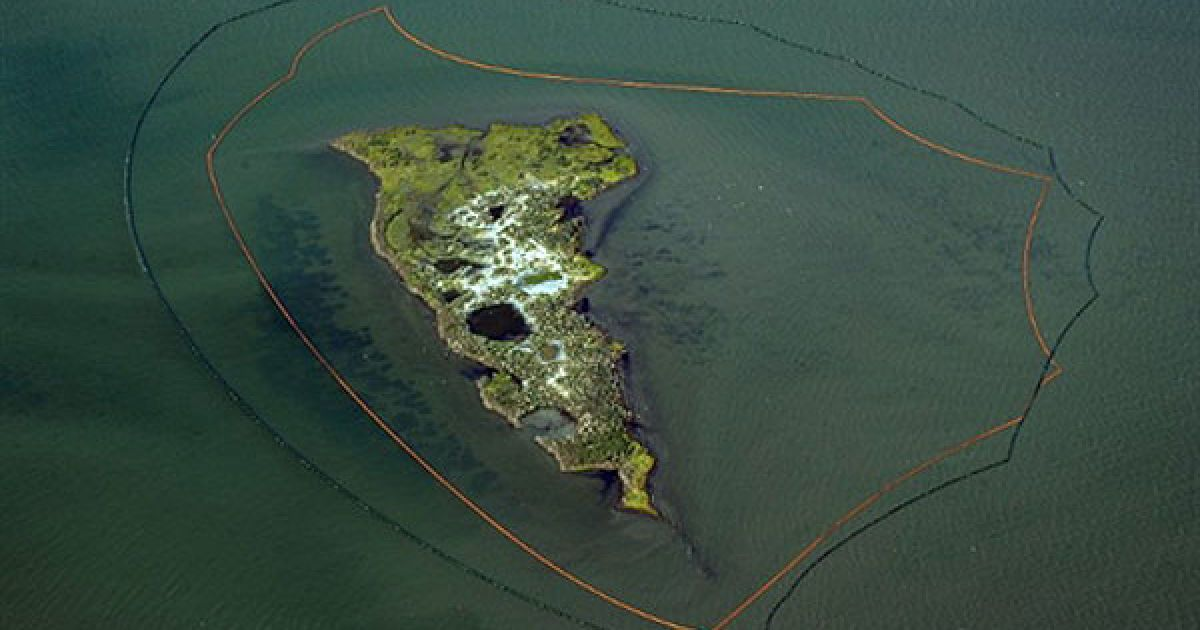 США. Нафтові буми захищають один з островів Нової затоки від нафтової плями, яка розповсюдилась навколо островів Чанделера. Триває операція з ліквідації наслідків розливу нафти у Мексиканській затоці. @ AFP