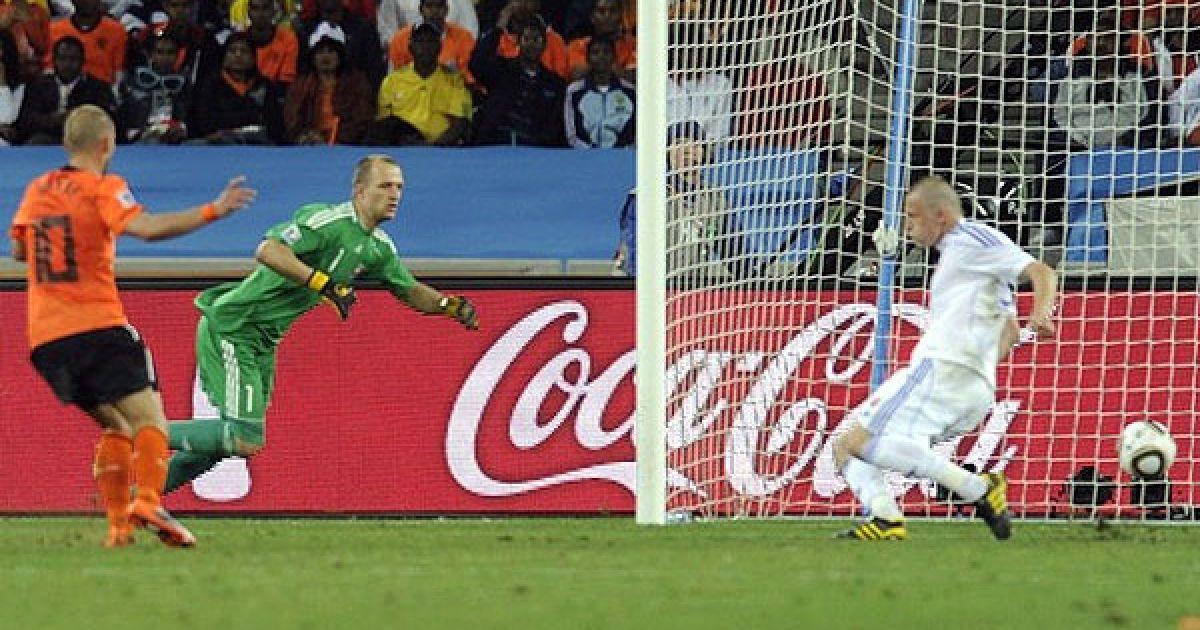 Уеслі Снейдер спокійно відправив другий м'яч у порожні ворота словаків. @ AFP