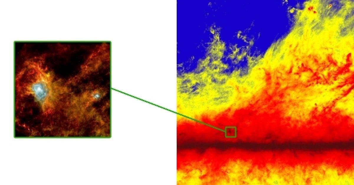 Найбільш холодні об'єкти пофарбовані в темно-червоний колір, найбільш гарячі - в білий @ ESA