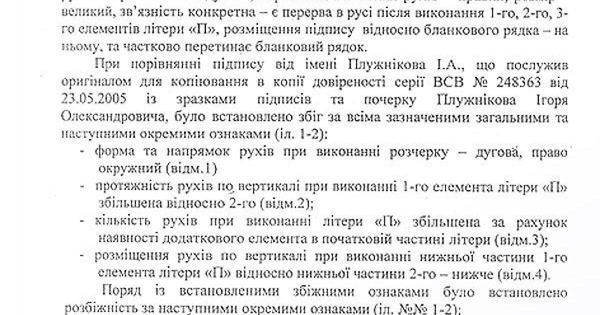 Вывод эксперта о поддельной подписи Плужникова. Часть 2 @ Дзеркало тижня. Україна