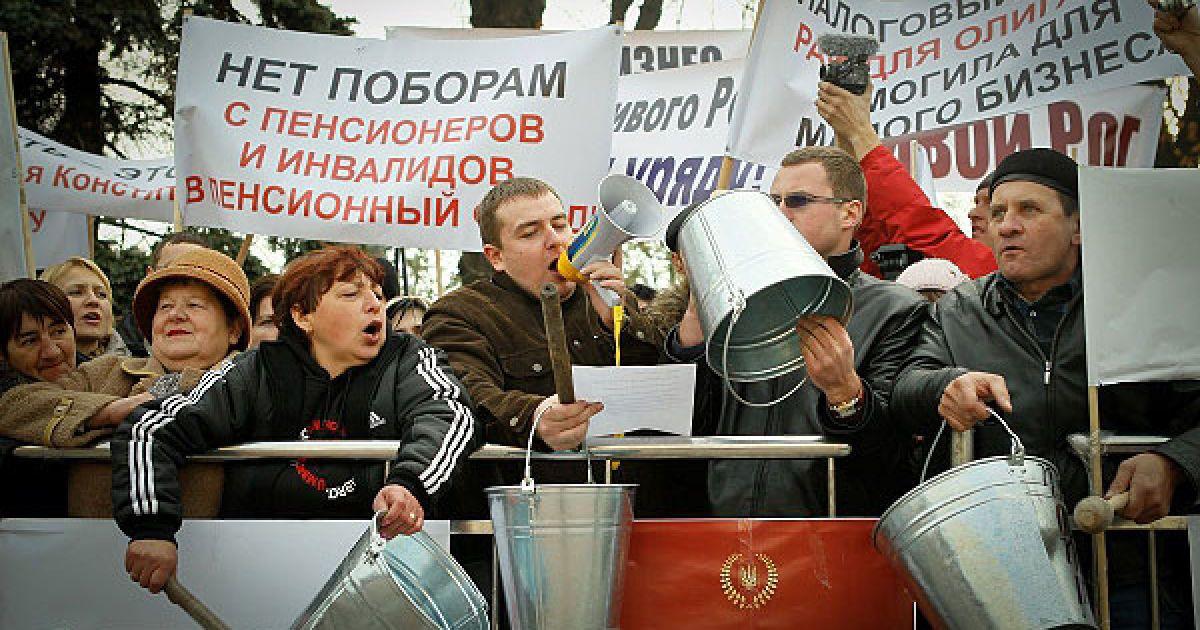 Підприємці залишили робочі місця, щоб взяти участь в загальнонаціональній акції протесту проти урядового Податкового кодексу, проект якого повинен розглядати парламент. @ Украинское Фото