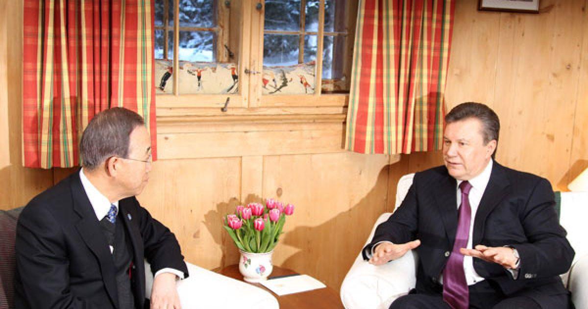У Давосі відбулася зустріч президента України Віктора Януковича  з Генеральним секретарем ООН Бан Кі-Муном. @ President.gov.ua
