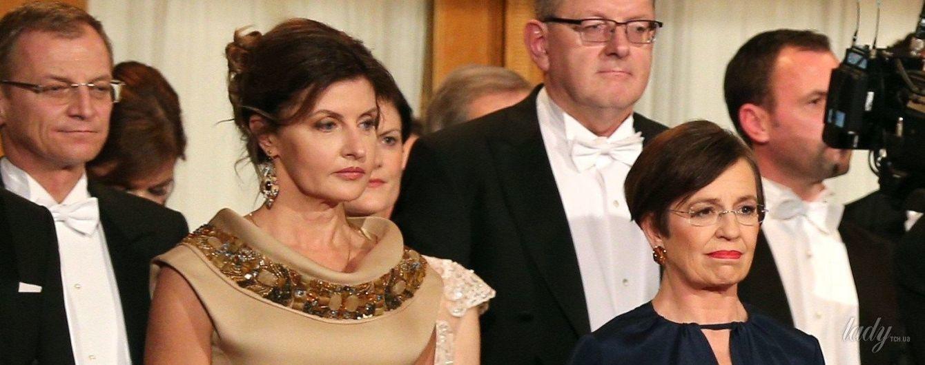 В золотистом платье с янтарным декором: красивый образ Марины Порошенко на Венском балу