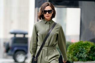 В костюме из собственной коллекции: стильная Виктория Бекхэм на улицах Нью-Йорка