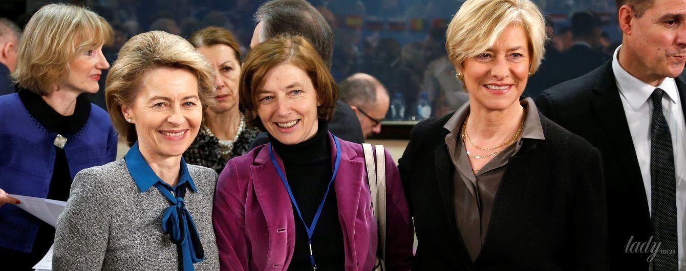 В малиновом пиджаке на официальной встрече: стильный образ министра обороны Франции