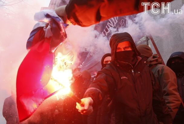 """Розгром від """"фашистських молодчиків"""". У РФ істеричною заявою відреагували на акцію С14 в Києві"""