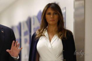 В белоснежном платье и на лубутенах: новый образ Мелании Трамп