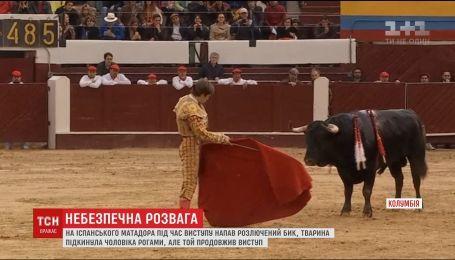 Во время корриды в Колумбии бык напал на матадора