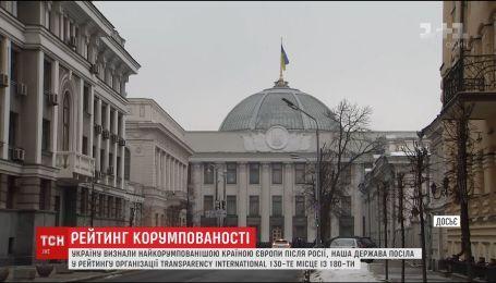 Украина остается самой коррумпированной страной Европы