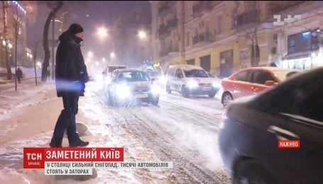 Заметіль у столиці спричинила транспортний колапс