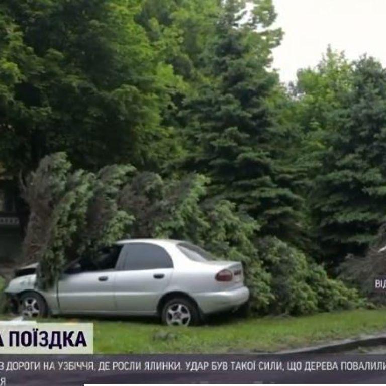 """""""Ланос"""" проти ялинок: у Дніпрі водій напідпитку врізався в дерева і втік із місця ДТП"""