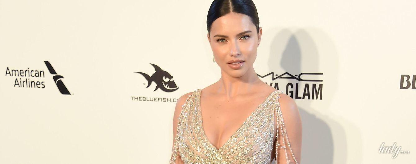 В откровенном платье с высоким разрезом: роскошная Адриана Лима сходила на вечеринку Элтона Джона