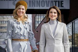 Оделись в унисон: королева Рания и королева Максима вышли на публику в новых образах