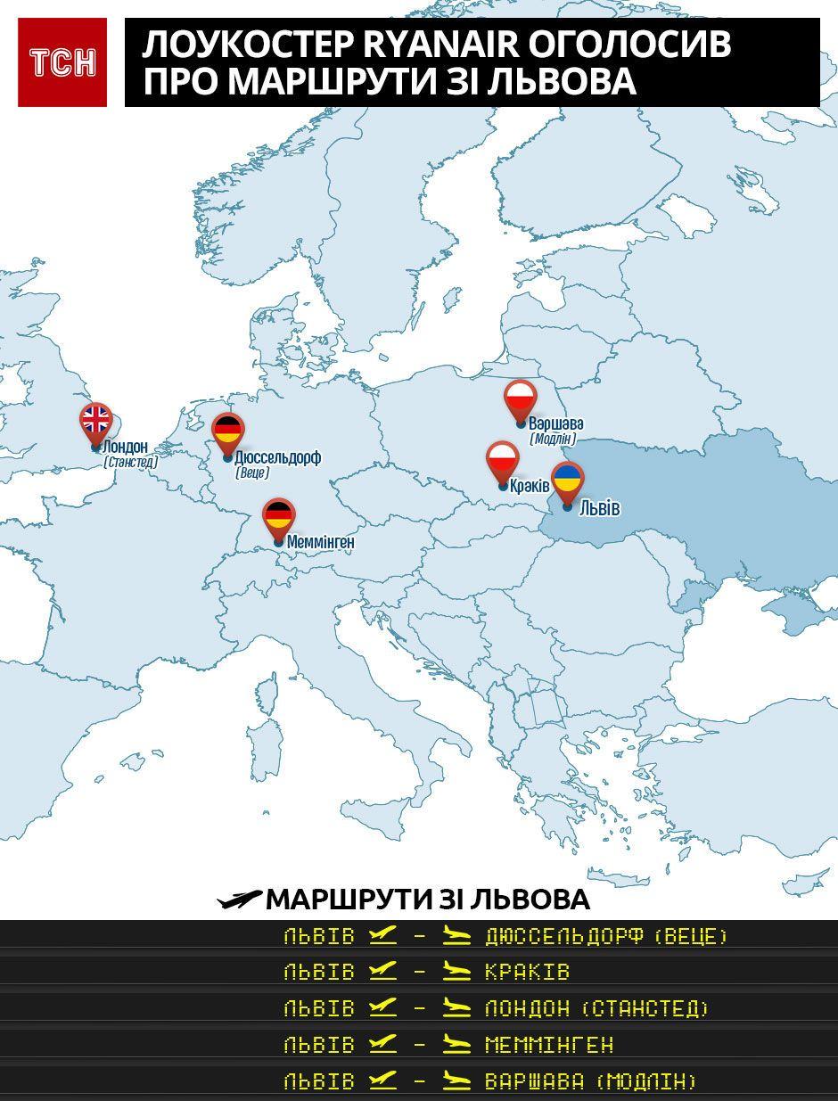 Інфографіка. Маршрути зі Львова (Ryanair)