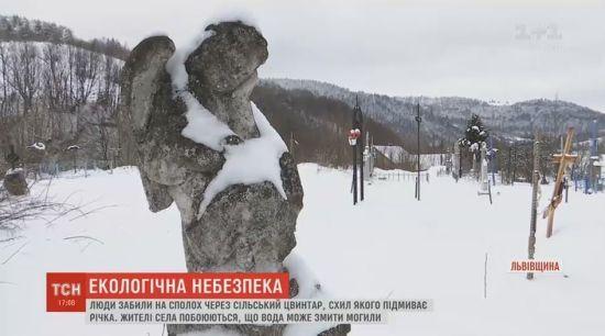 На Львівщині труни з цвинтаря можуть опинитися в річці через підмитий берег