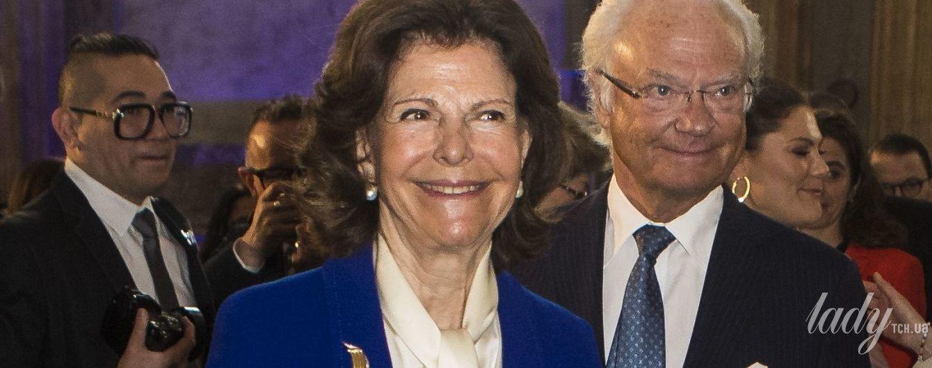 Как всегда, яркая: 74-летняя королева Сильвия появилась на публике в стильном костюме