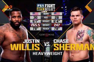 UFC Fight Night 128. Джастин Уиллис - Чейз Шерман. Видео боя