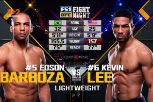 UFC Fight Night 128. Кевин Ли - Эдсон Барбоза. Видео боя