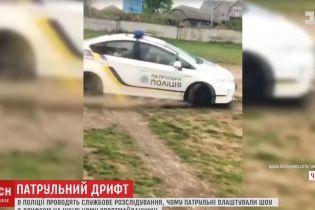 В Черновцах патрульные устроили дрифт на служебном авто на школьной спортплощадке