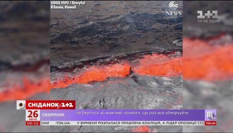 Извержение гавайского вулкана Килауэа образовало настоящее огненное озеро