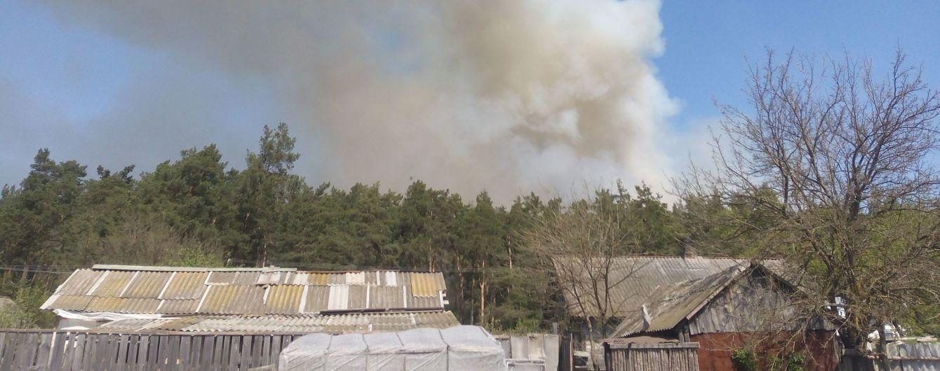 Огонь и столбы дыма. Под Конотопом лесной пожар напугал жителей села