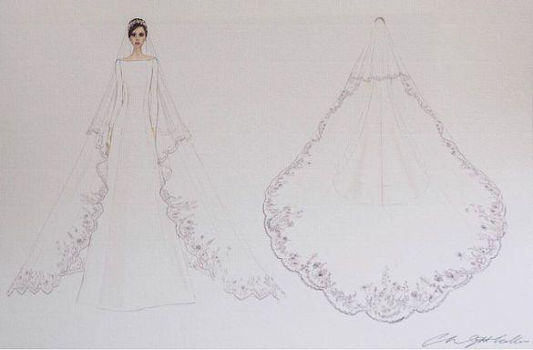 Эскиз свадебного платья Меган Маркл_1