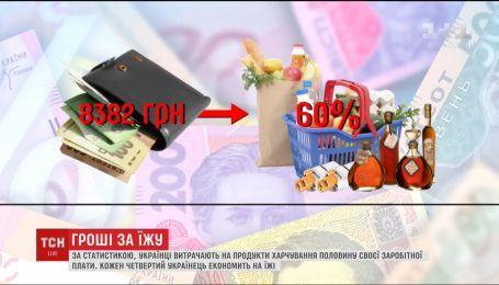 Украинцы тратят на продукты питания половину своей заработной платы