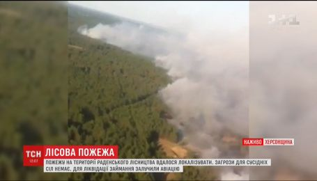 На Херсонщині продовжують ліквідовувати лісову пожежу за допомогою авіації