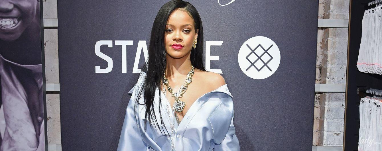 В платье-рубашке с глубоким декольте: Рианна на светском мероприятии