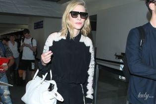 В стильном костюме: Кейт Бланшетт подловили папарацци в аэропорту