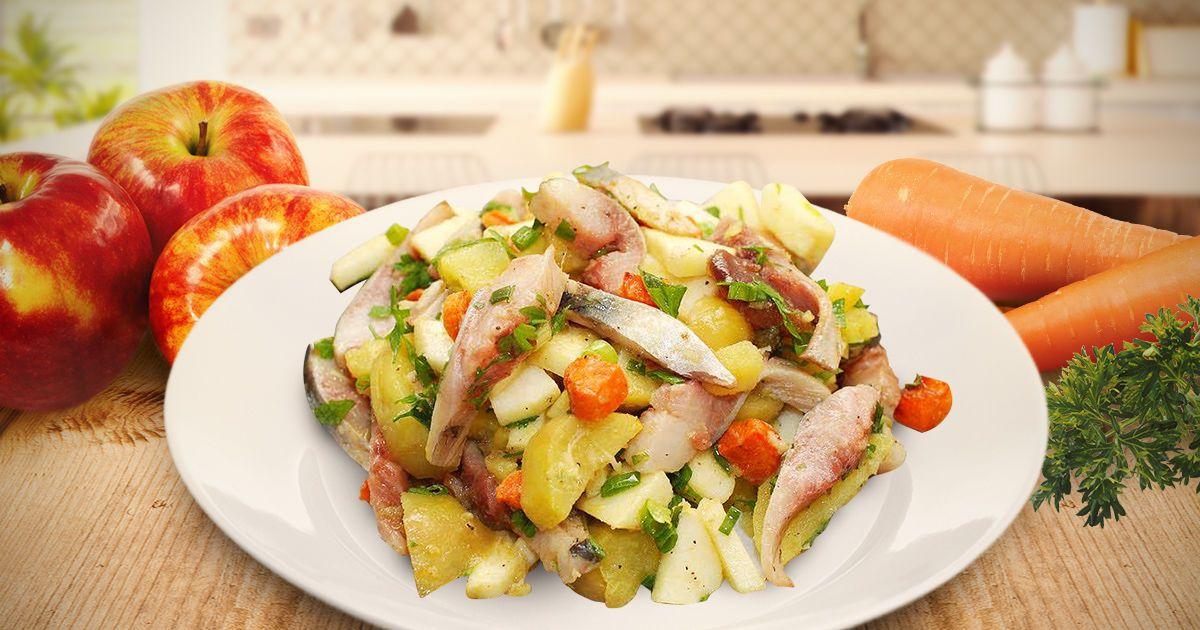 Необычный салат с селедкой
