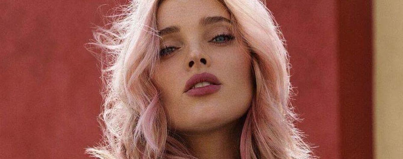 С розовыми волосами и в кружевном бюстгальтере: Эльза Хоск в новом фотосете