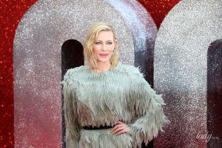 В тунике из серых перьев: элегантная Кейт Бланшетт на красной дорожке
