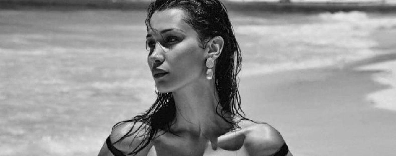 В шкіряній білизні і топлес: Белла Хадід в новому фотосеті