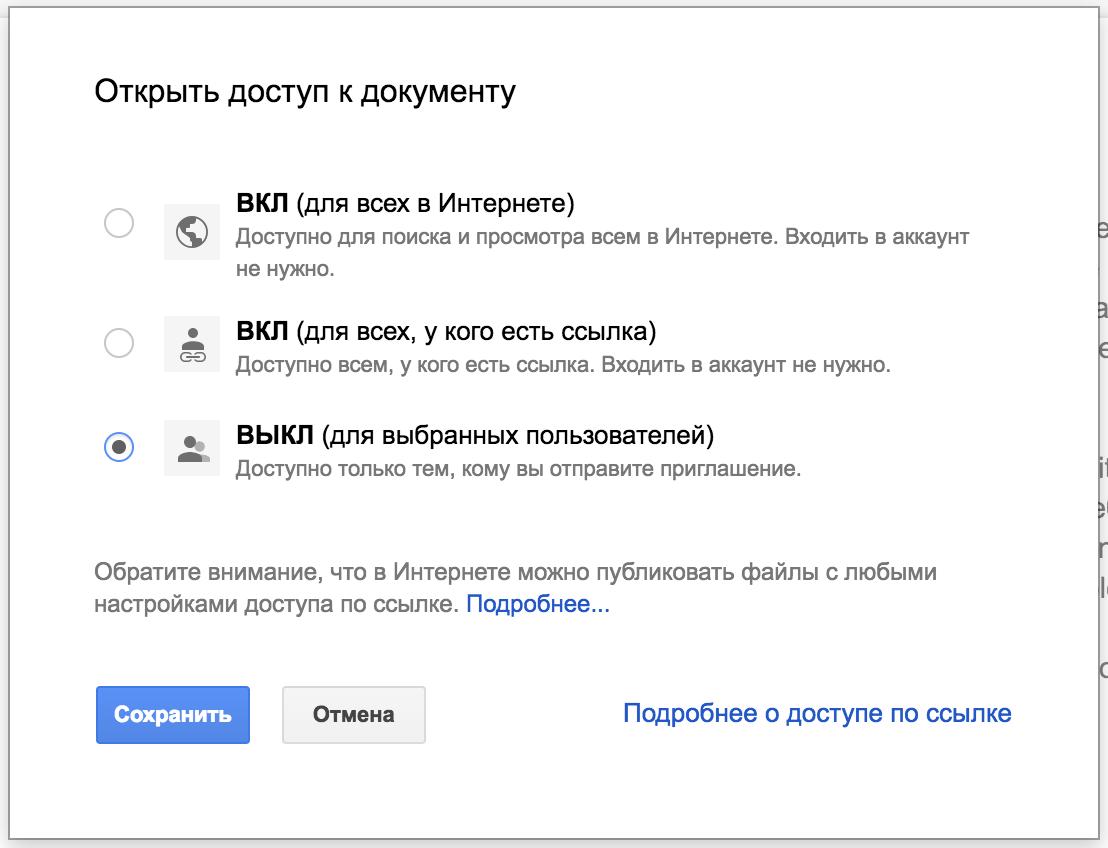 Доступ до Google Docs