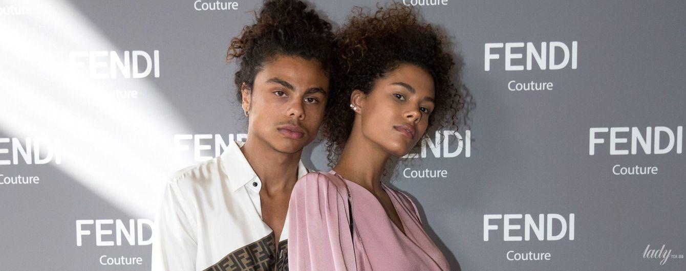 В новом эффектном образе: Тина Кунаки с братом приехала на шоу Fendi