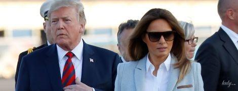 З улюбленою сумкою і в пальті за 4 000 доларів: Меланія Трамп прилетіла в Гельсінкі