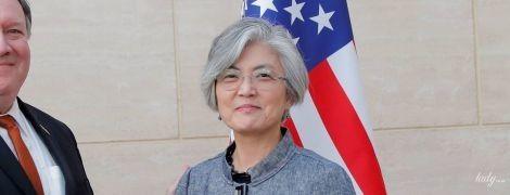 В жакете с кружевом: деловой образ министра иностранных дел Республики Кореи